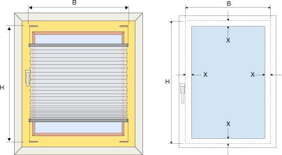 Sehr Plissee Konfigurator - Maßeingabe für Plissees KE01